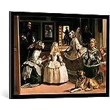 """Cuadro con marco: Diego Velasquez """"Las Meninas"""" - Impresión artística decorativa con marco de alta calidad, 100x70 cm, Negro / canto gris"""