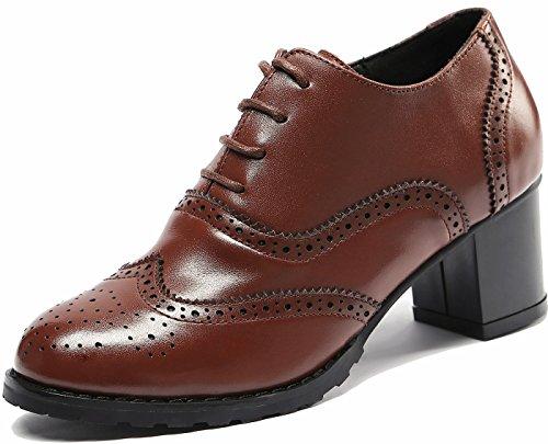 SimpleC Damen Perforierte Schnüren Wingtip MehrfarbenLeder Flat Oxfords Vintage Comfy Office Schuhe Karamell40 (Wingtip Schuhe Rosa)
