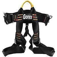 Gonex Arnés de Escalada en Roca Cinturones de Seguridad para Montañismo Alpinismo Expedición Bomberos Banda Deportes Rappel Ajustable Equipo Medio Cuerpo para Mujer Hombre Niños