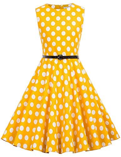 Niña Vestido Amarillo sin Mangas de Lunares con Cinturón 6 Años KK250-31