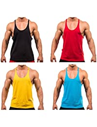 The Blazze Men's Blank Stringer Y Back Bodybuilding Gym Tank Tops Pack Of 4 (Large, Red+Yellow+Royal Blue+Blue)