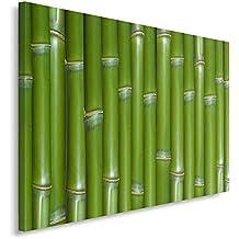 Feeby Frames, Cuadro en lienzo, Cuadro impresión, Cuadro decoración, Canvas 80x120 cm, PLANTAS, BAMBÚ, ZEN, VERDE