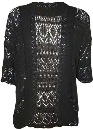 Womens Plus Size Crochet Knitted Short Sleeve Ladies Open Cardigan Top - Black - 16-18