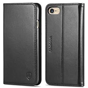 iPhone 6s Hülle iPhone 6 Hülle, SHIELDON iPhone 6s / 6 Echt Leder Hülle, Ledertasche mit [Kartenfach] [Standfunktion] [Magnet] für iPhone 6s / 6 4.7 Zoll, Schwarz