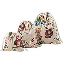 Gespout Natural Yute Bolsa de Tela Lino Bolsitas de Navidad Candy Regalo Bolsas Almacenamiento y organización Mujeres Bolso del Ropa Bra Paquete Hogar Portátil 3pcs Diferentes Tamaños Búho