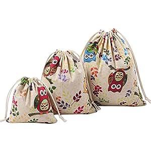 Hosaire 3Pcs Sac de Rangement en Toile de lin Pratique Sac à bagages Impression Fleurs mignonne Organisateur des Voyage Sac Pochette Grande Capacité Avec Cordon