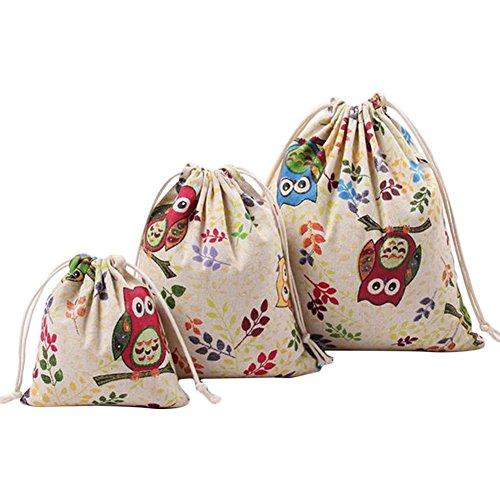 Cdet 3X Bolso de la colección casera bolsa de cordón lindo lechuza