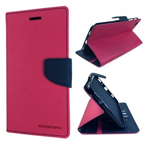 YORA YORA Fancy Wallet Imported Original Premium Quality Fancy Folding Flip Folio with Stand View Faux Leather Mobile Flip Cover and 2 cards slot Stand Case Cover For Xiaomi Redmi Note 4G / Redmi Note Prime (Pink)  available at amazon for Rs.189