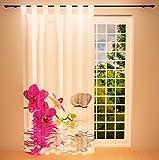 Clever-Kauf-24 Schlaufenschal Vorhang Gardine Orchidee im Wasser BxH 145 x 245 cm | Sichtschutz | Lichtdurchlässiger Schlaufenvorhang mit Druckmotiv