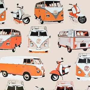 I Love Wallpaper Papier Motif VW Camper Van et Scooter &Papier peint Crème/Beige/Orange (édition limitée)