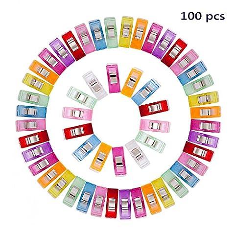Dikete® 100pcs Couture Clips Pinces robustes pour reliure quilting Artisanat, 2.7x 1x 1.5cm/2,8x 1x 1,5cm, 9couleurs chaque Couleurs nombres aléatoires