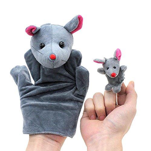 VANKER marioneta del dedo de la felpa de mano Modelo de los juguetes 2 piezas (1 grande + 1 pequeña)--rata