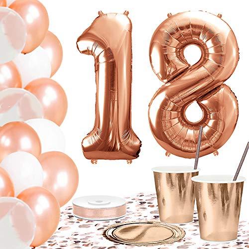 DekoGuru® Partyset in rosé Gold - für 18 Personen (18. Geburtstag)