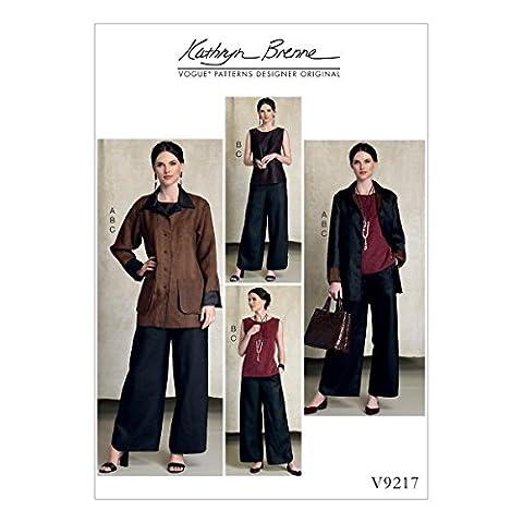 Vogue Patterns 9217Y Patrons de veste/haut et pantalon réversible Patrons de couture, soie, Multicolore, tailles XS–Medium