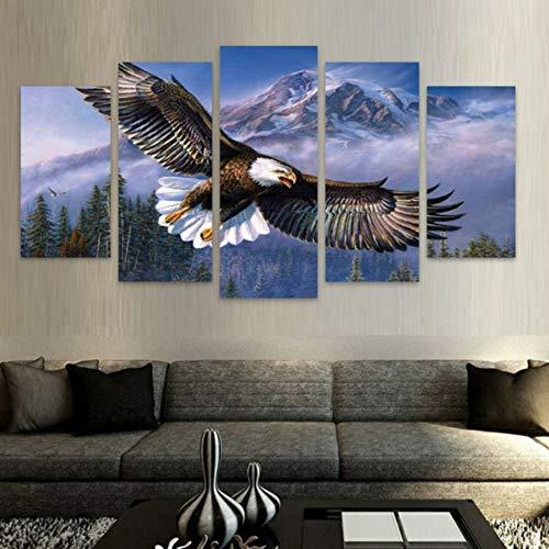 Ayhuir Kreative Berglandschaft Tier Adler Gerahmte Fünf Stücke Moderne Leinwand Gemälde Home Wand-Dekor Raum Kunst Für Wohnzimmer40X60Cmx2 40X80Cmx2 40X100Cmx1 Unframe - Adler-raum-dekor