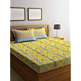 Bombay Dyeing Cynthia Polycotton Double Bedsheet with 2 Pillow Covers - Yellow