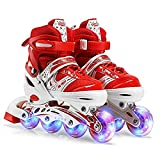 SHANGN Inline-Skate, Verstellbare Kinder-Full-Flash-Single-Allrad-Rollschuhe Skating-Schuhe