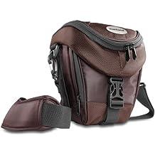 Mantona Premium - Funda para cámara reflex (correa para hombro, cierre de cremallera y clip), color marrón