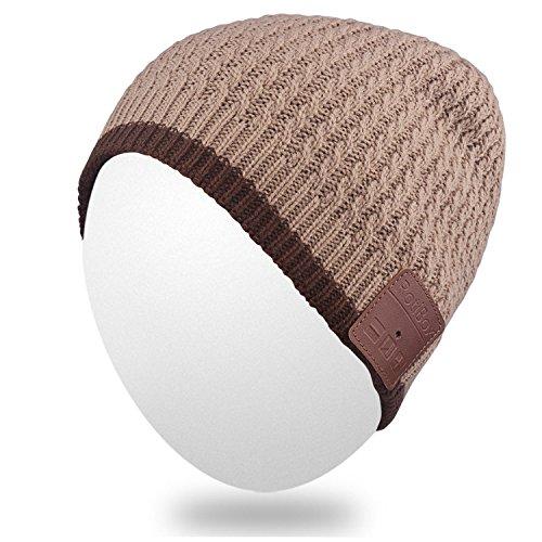 Qshell Unisex Adult Bluetooth Beanie Hut Trendy Soft Warm Kurz Audio Musik Cap mit Wireless Kopfhörer Headset Lautsprecher Mic Hands-frei, Winter Outdoor Sport S - Khaki