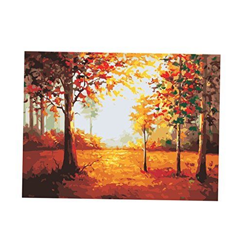 Phenovo 40x50cm DIY Oil Painting by Numbers PBN Kit for Adults Girls Kids Xmas Christmas Decor Decorations Gifts Artwork Frameless - fallen leaves, 40x50cm