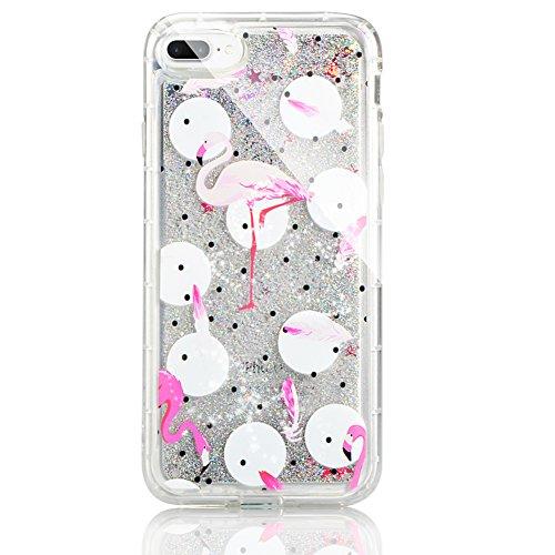 """Coque pour iPhone 7 Plus 5.5"""" Case pour iPhone 8 Plus Case , Sunroyal TPU Transparent Coque Case Cover de [Protection Pare-Chocs] Coussin d'Air Flex Soft Portable Shell Bling Bling Extra Slim Skin Par Flamingo 03"""