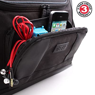 Schultertasche / Umhängetasche von USA Gear mit Platz für 10 Zoll Tablet + Tastatur / Type Cover oder zwei Tablets wie HTC Google Nexus 9 LTE , Sony Xperia Z4 , Toshiba Encore 2 , S7 Pro (Schwarz)