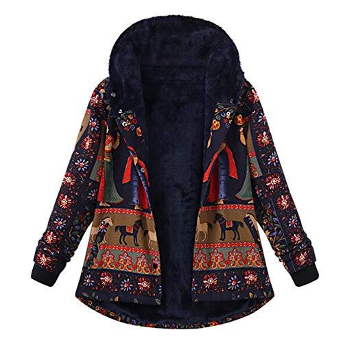 Maglione Donna Felpa con Cappuccio Inverno Stampa in Stile Etnico più Cappotto di Cotone Sciolto di Velluto Maniche Lunghe Distintivo Sweatshirt Hoodie Camicetta Dolcevita Qinsling