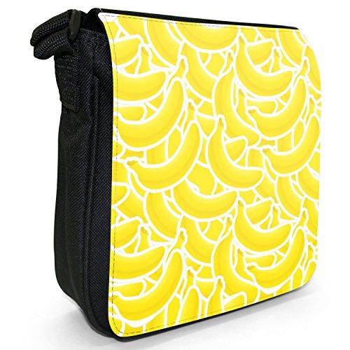 Graphical frutta-Borsa a tracolla in tela, piccola, colore: nero, taglia: S Banana Fruit