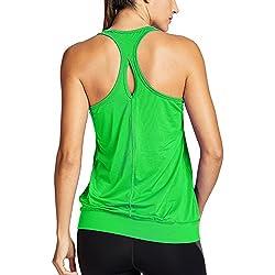SYROKAN - Camiseta Deportiva de Tirantes para Mujer Verde M