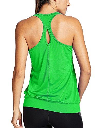 SYROKAN Damen Sport T-Shirt Tank Top - Ringerrücken Gym Elastische Fitness Grün 42 (L)