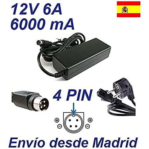 Cargador Corriente 12V 6A 4 PIN TV
