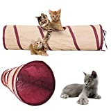 Poppypet Tunnel pour chat jouet, Tunnel 2 tubes pliable pour petits animaux, Super cute cat tunnel pliable, tunnel multifonctions jouets se Condo To Help Stop Meowing and Scratching
