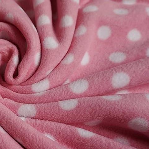 Pink Anti pill Polar Fleece with White Spots (Per Metre)