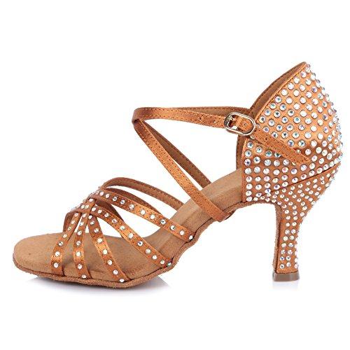 YKXLM Mujeres&Niña Zapatos Latinos de Baile Zapatillas de Baile de salón Salsa Performance Calzado de Danza,ESAFCT40402,Marrón Color,EU 35