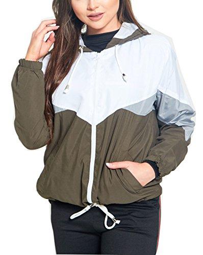 Die neuen Frauen Kontrast Farbe Block Kapuze Regen Mac Festival Cagoule Damen Windbreaker Jacke