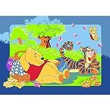Winnie the Pooh mit Tigger beim Picknick Teppich Kinderteppich Kinder Teppich Spielteppich Winnie the Puuh 95 x 133 cm ein muss für jeden Fan und darf in keinem Kinderzimmer fehlen