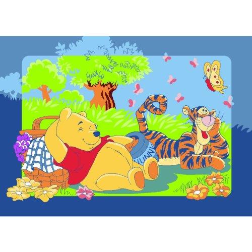 Winnie the Pooh mit Tigger beim Picknick Teppich Kinderteppich Kinder Teppich Spielteppich Winnie the Puuh 95 x 133 cm ein muss für jeden Fan und darf in keinem Kinderzimmer fehlen -