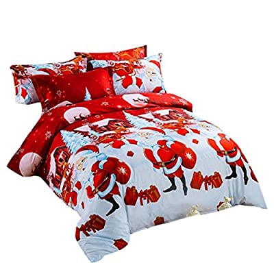 hunpta 4 Pcs Bed Linen Home Textile Christmas Bedding Set Duvet Cover Bed Sheet Pillowcases - inexpensive UK light shop.