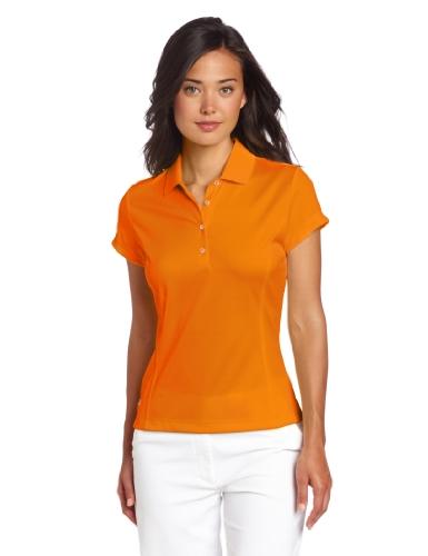 Golf Climalite (adidas Golf Damen Climalite Solid Polo, Damen, Light Orange/White, Large)