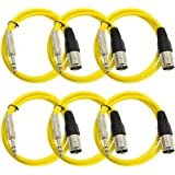 "Seismic Audio Seismic 6 Pack Yellow 1/4"" TRS XLR Male 2' Patch Cables Yellow - SATRXL-M2Yellow6"
