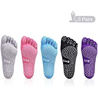GHB 5 Pairs Non Slip Skid Pilates Yoga Socks Anti-Slip Full Toe with Grips Cotton for Women