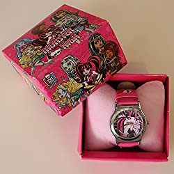 MONSTER HIGH WRIST WATCH WITH GIFT BOX PINK STRAP (image on watch may vary)