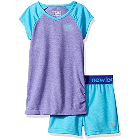 New Balance Girls' Little Girls' Short Sleeve Raglan Performance T-Shirt and Short Set