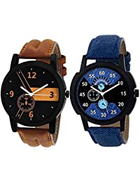 Xforia Boys Watch Fashion Brown & Blue Leather Analog Watches For Mens Pack Of 2