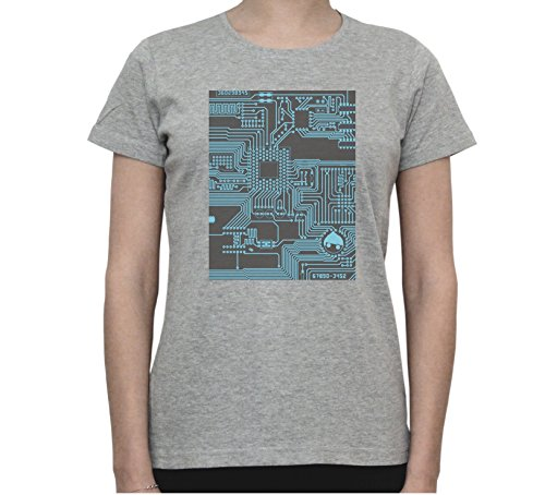 Circuit Board Print Funny Graphic Women's T-Shirt Gris