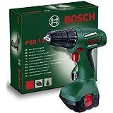 Bosch PSR 1200 – Atornilladora con acumulador (700 rpm, par de giro en 5 niveles, batería de 12 V) color verde