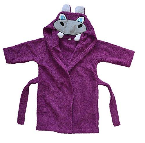 BOMIO | Baby Bademantel Nilpferd | Baby Kapuzen-Bademantel aus 100% Baumwolle | Oeko-Tex Standard 100 zertifiziert| Made in Germany | 74/80 | /Lila
