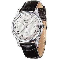 Hombres Analógico de Cuarzo Correa de piel–Vintage Números Romanos cuero negro banda reloj de pulsera para hombre de negocios, automático FECHA Casual reloj
