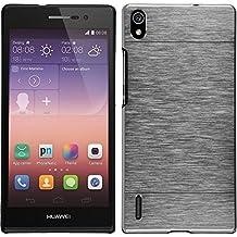 Funda Rígida para Huawei Ascend P7 - metálico plata - Cover PhoneNatic Cubierta + protector de pantalla