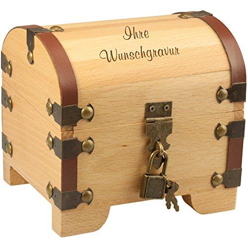 Schatztruhe Holz - Wir gravieren für Sie 3 Zeilen mit je 15 Zeichen - Geldgeschenk & Geschenk zur Hochzeit, Taufe, Geburt, Geburtstag, Einzug, Geburtstage für Geld - für Männer, Frauen, Freund & Freundin (Mit Wunschgravur)